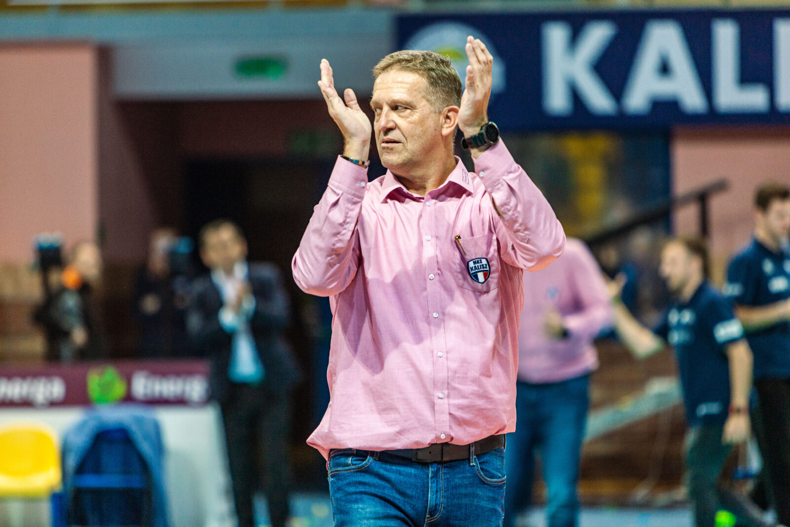 Trener Jacek Pasiński po zwycięstwie z Volleyem Wrocław / fot. Michał Rabiega